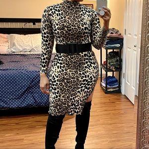 Leopard turtleneck midi
